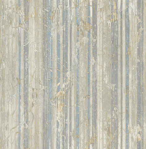 Whitney Stripe Wallpaper in Blue and Neutrals from the Metalworks Collection by Seabrook Wallcoverings