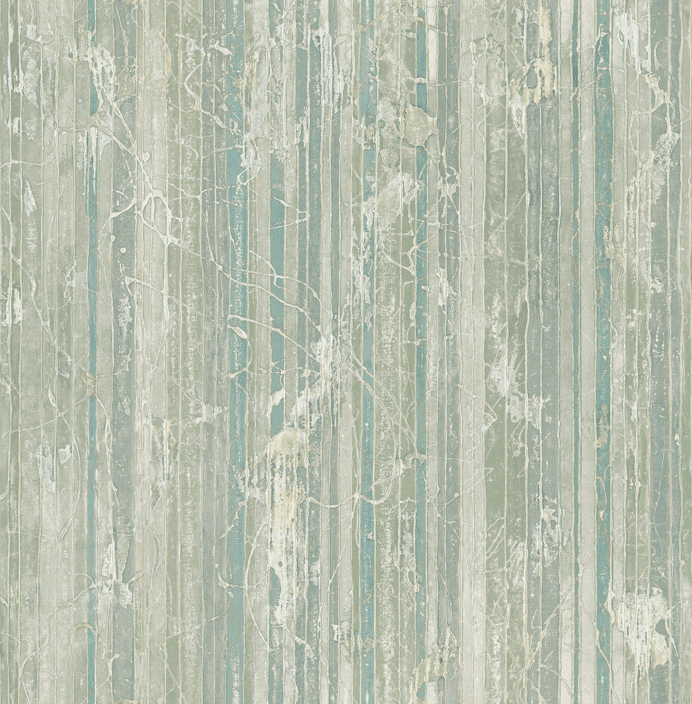 Whitney Stripe Wallpaper in Green and Neutrals from the Metalworks Collection by Seabrook Wallcoverings