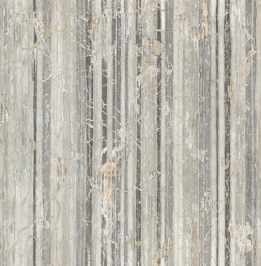 Sample Whitney Stripe Wallpaper in Grey and Neutrals from the Metalworks Collection by Seabrook Wallcoverings
