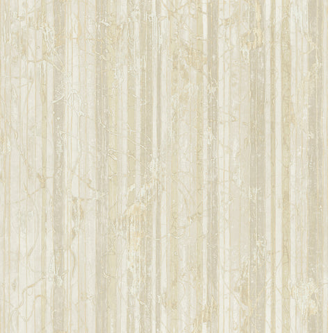 Whitney Stripe Wallpaper in Neutrals and Off-White from the Metalworks Collection by Seabrook Wallcoverings
