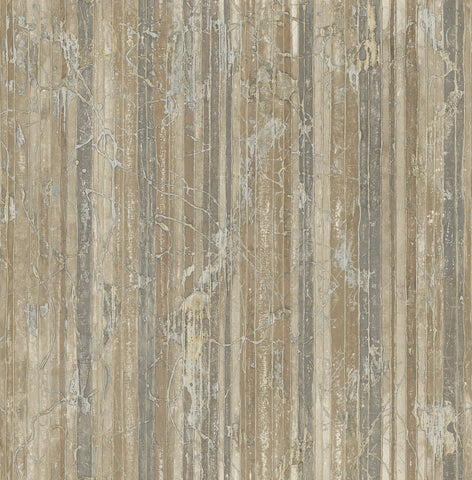 Whitney Stripe Wallpaper in Tan and Ivory from the Metalworks Collection by Seabrook Wallcoverings