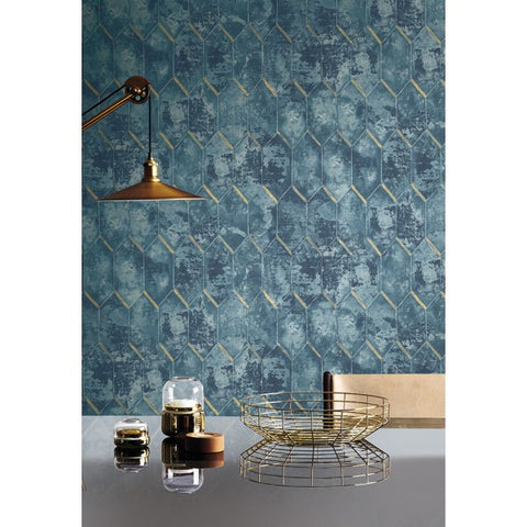 Whitney Wallpaper in Blue and Gold from the Metalworks Collection by Seabrook Wallcoverings