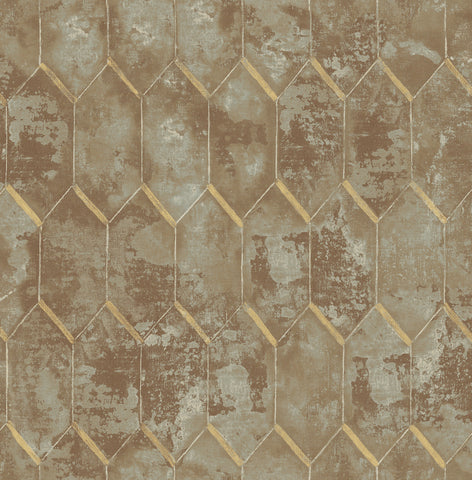 Whitney Wallpaper in Brown and Gold from the Metalworks Collection by Seabrook Wallcoverings