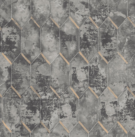Whitney Wallpaper in Grey and Gold from the Metalworks Collection by Seabrook Wallcoverings