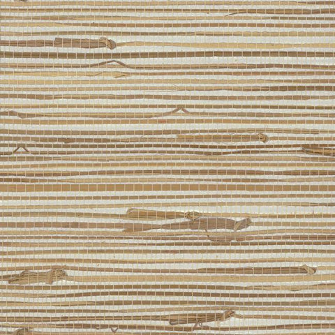 Wide Knotted Grass Wallpaper in Brown and Silver from the Grasscloth II Collection by York Wallcoverings