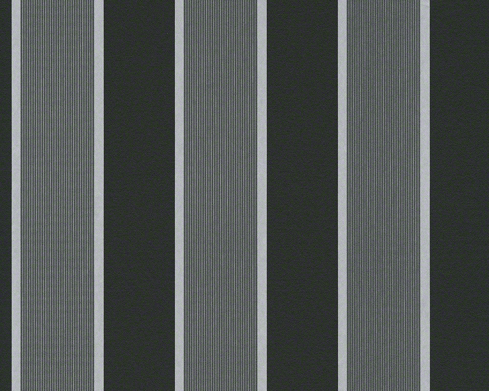 Sample of Wide Stripes Wallpaper in Grey and Black design by BD Wall