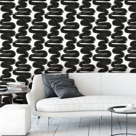Wiggle Room Self Adhesive Wallpaper in White and Black by Bobby Berk for Tempaper