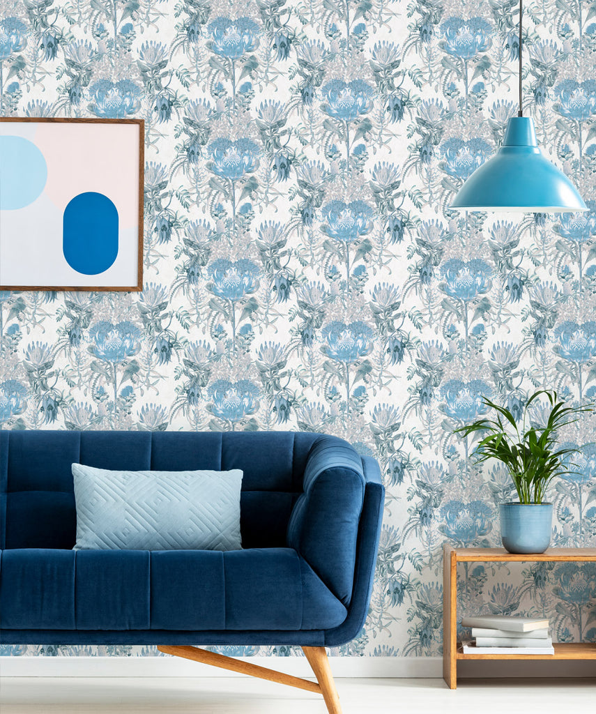 Wild Flowers Wallpaper in Blue by Simcox Designs for Milton & King