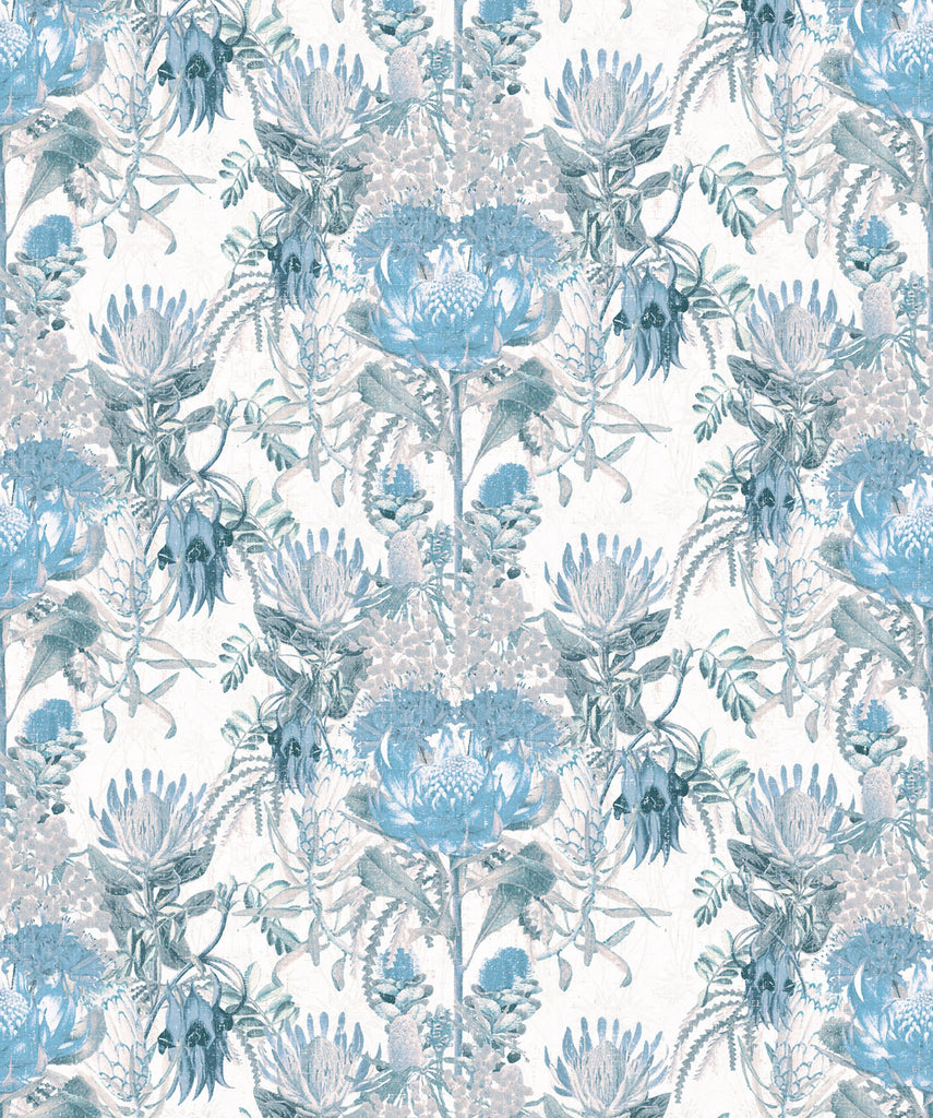 Sample Wild Flowers Wallpaper in Blue by Simcox Designs for Milton & King
