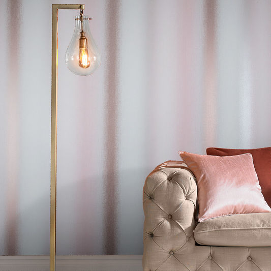 Wild Flower Stripe Wallpaper in Blush from the Exclusives Collection by Graham & Brown