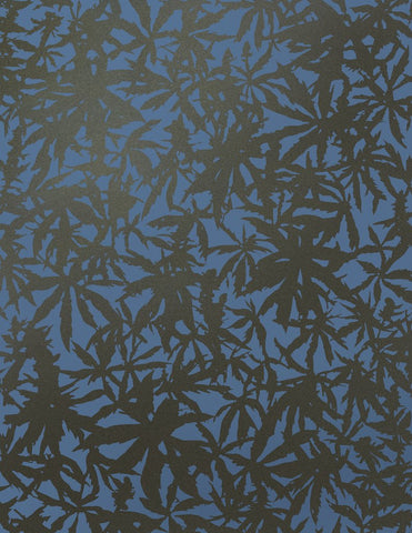 Wild Thing Wallpaper in Gunmetal on Navy design by Juju