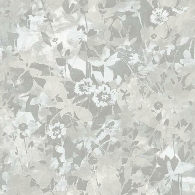 Wildflower Shadows Peel & Stick Wallpaper in Grey and White by RoomMates for York Wallcoverings