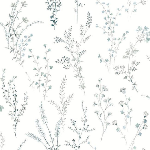 Wildflower Sprigs Wallpaper in Blue and Green from the Simply Farmhouse Collection by York Wallcoverings