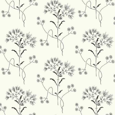 Wildflower Wallpaper in Black and White from Magnolia Home Vol. 2 by Joanna Gaines