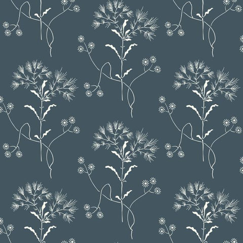 Wildflower Wallpaper in Blues and White from Magnolia Home Vol. 2 by Joanna Gaines