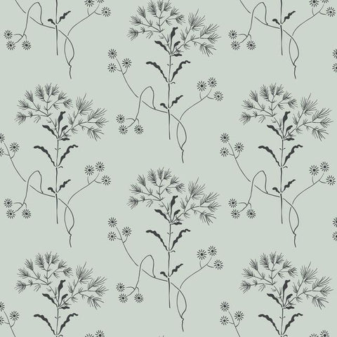 Wildflower Wallpaper in Gray and Black from Magnolia Home Vol. 2 by Joanna Gaines