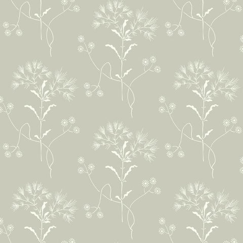 Wildflower Wallpaper in Gray from Magnolia Home Vol. 2 by Joanna Gaines