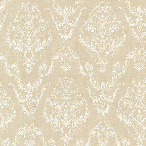 Wiley Beige Lace Damask Wallpaper from the Avalon Collection by Brewster Home Fashions