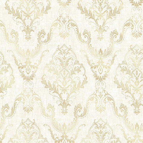 Wiley Cream Lace Damask Wallpaper from the Avalon Collection by Brewster Home Fashions