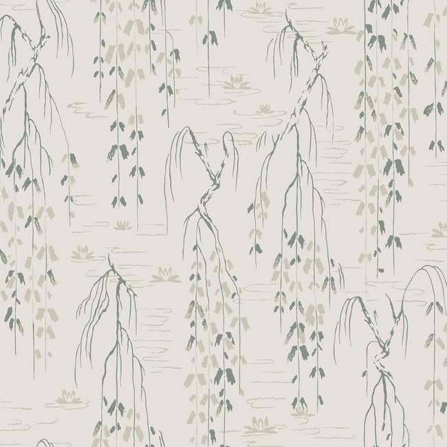 Willow Branches Wallpaper in Green from the Tea Garden Collection by Ronald Redding for York Wallcoverings