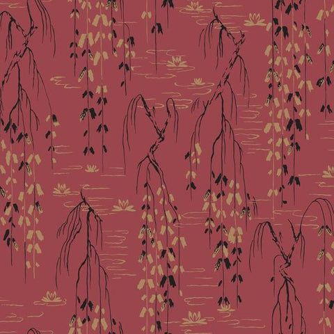 Willow Branches Wallpaper in Red, Black, and Gold from the Tea Garden Collection by Ronald Redding for York Wallcoverings