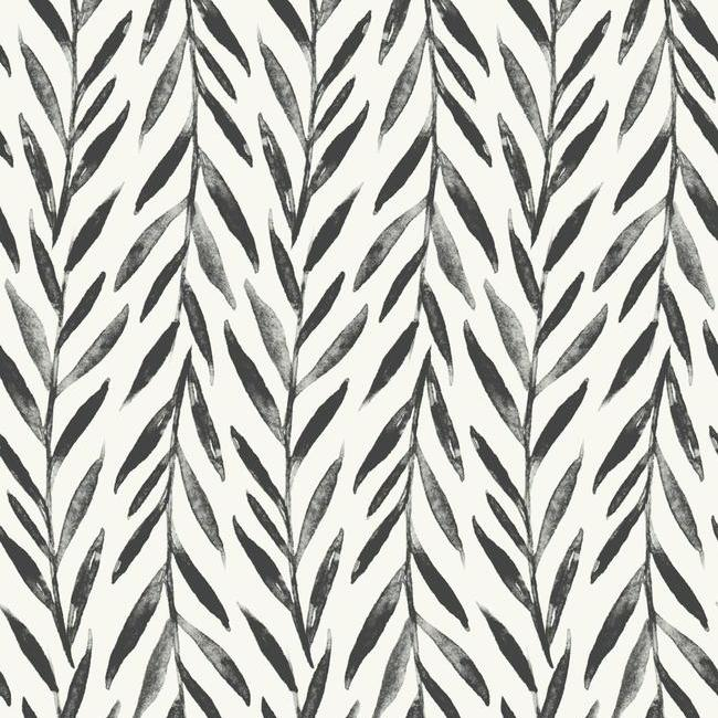 Sample Willow Peel & Stick Wallpaper in Black by Joanna Gaines for York Wallcoverings