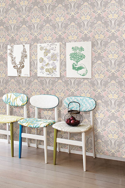Willow Pink Nouveau Floral Wallpaper from the Kismet Collection by Brewster Home Fashions