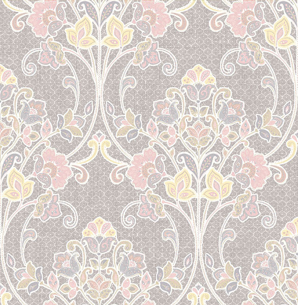 Sample Willow Pink Nouveau Floral Wallpaper from the Kismet Collection by Brewster Home Fashions