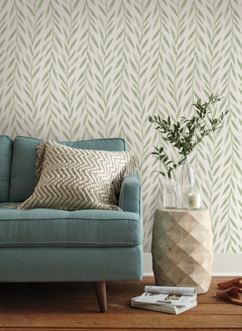 Willow Wallpaper in Green from the Magnolia Home Vol. 3 Collection by Joanna Gaines