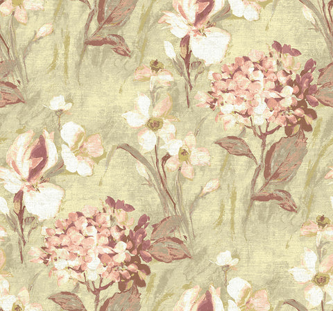 Windblown Florals Wallpaper in Coral Rays from the Nouveau Collection by Wallquest