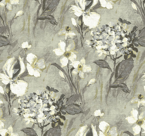 Windblown Florals Wallpaper in Gray Gardens from the Nouveau Collection by Wallquest