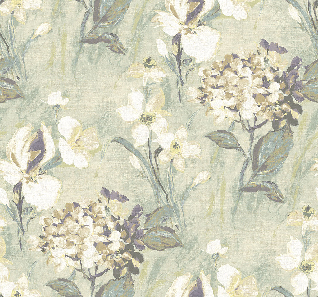 Windblown Florals Wallpaper in Sunny Violet from the Nouveau Collection by Wallquest