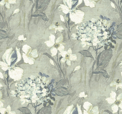 Windblown Florals Wallpaper in Whisper from the Nouveau Collection by Wallquest