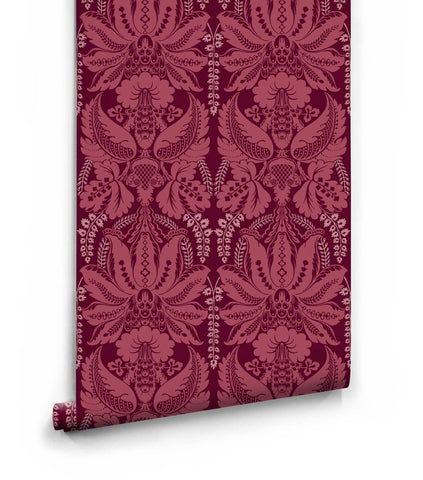 Windsor Wallpaper in Crimson from the Kingdom Home Collection by Milton & King