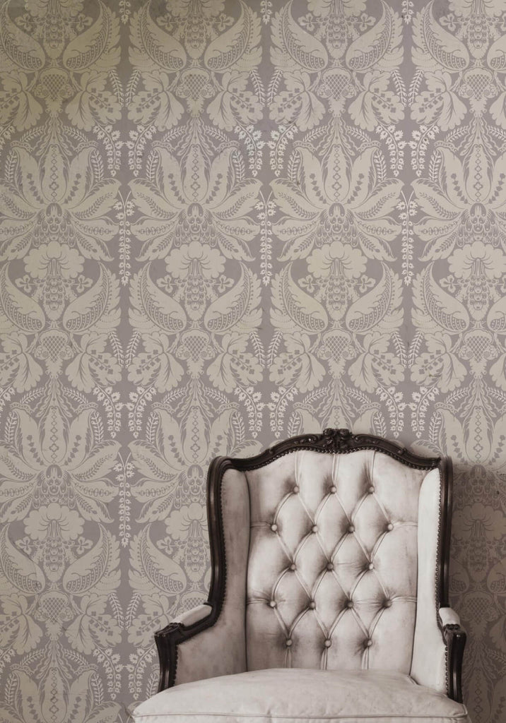 Windsor Wallpaper in Dove from the Kingdom Home Collection by Milton & King