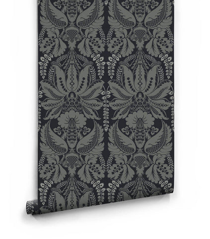 Windsor Wallpaper in Phantom from the Kingdom Home Collection by Milton & King