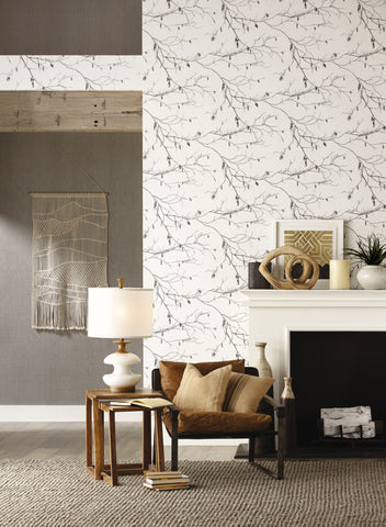 Winter Branches Wallpaper in Ivory and Grey from the Norlander Collection by York Wallcoverings
