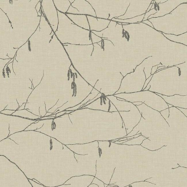 Sample Winter Branches Wallpaper in Beige from the Norlander Collection by York Wallcoverings