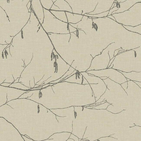 Winter Branches Wallpaper in Beige from the Norlander Collection by York Wallcoverings