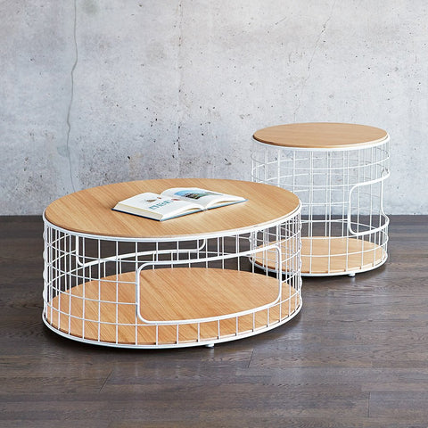 Wireframe Coffee Table in White & Natural Oak by Gus Modern