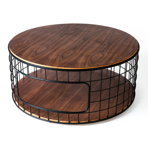 wireframe coffee table in walnut design by gus modern burke decor