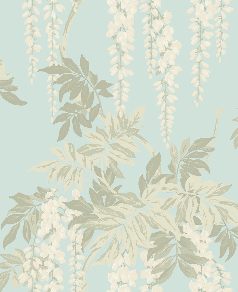 Wisteria Wallpaper in Blue, Cream, and Taupe from the Watercolor Florals Collection by Mayflower Wallpaper
