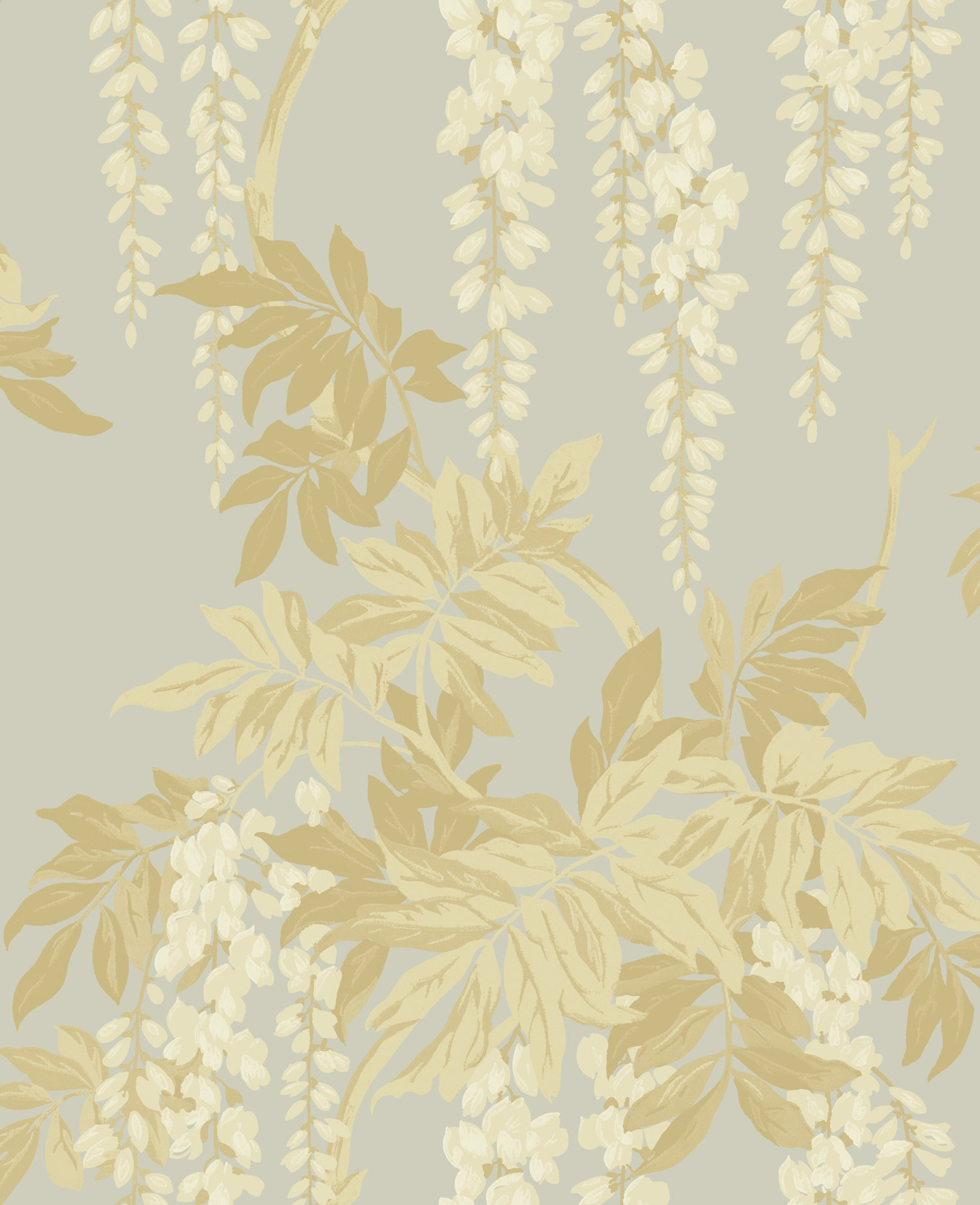 Wisteria Wallpaper in Cream, Taupe, and Bronze from the Watercolor ...