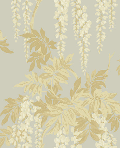 Wisteria Wallpaper in Cream, Taupe, and Bronze from the Watercolor Florals Collection by Mayflower Wallpaper