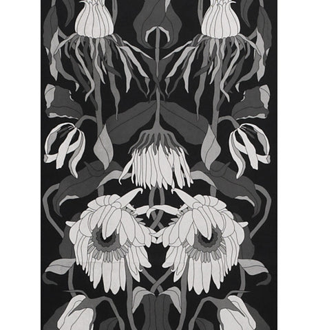 Archives Collection Withered Flowers Wallpaper in Black design by Studio Job for NLXL Wallpaper