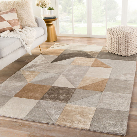 Penta Handmade Geometric Gray & Gold Area Rug