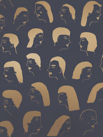 Women Wallpaper in Gold and Charcoal by Juju