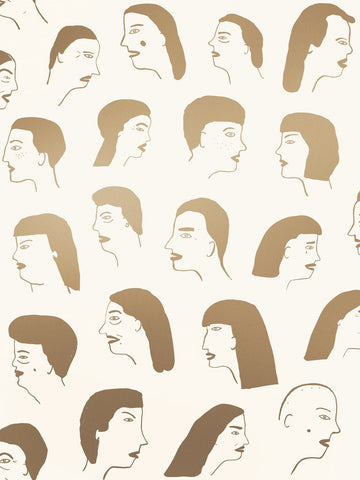 Women Wallpaper in Gold and Cream by Juju