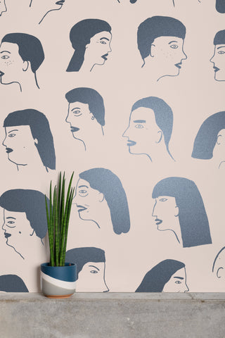 Women Wallpaper in Gunmetal and Blush by Juju