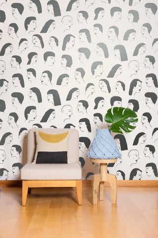 Women Wallpaper in Gunmetal and Cream by Juju